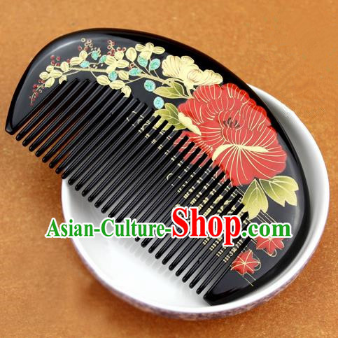 Japanese Traditional Courtesan Kimono Peony Black Hair Comb Ancient Geisha Hair Accessories for Women