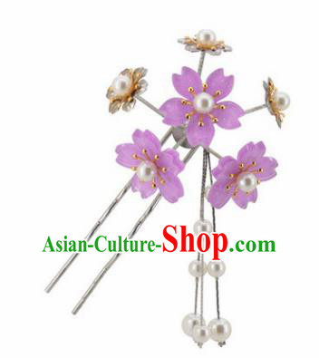 Japanese Traditional Kimono Hair Accessories Ancient Yukata Lilac Cherry Blossom Tassel Hairpins for Women