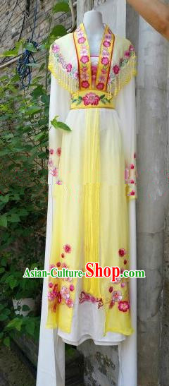 Chinese Traditional Beijing Opera Actress Costumes Ancient Nobility Lady Embroidered Yellow Dress for Women