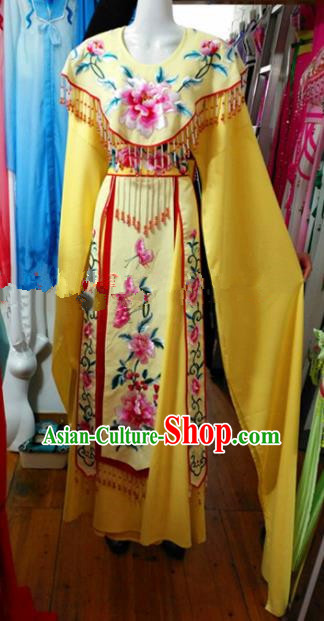Chinese Traditional Beijing Opera Imperial Consort Yellow Dress Ancient Peri Embroidered Costumes for Women