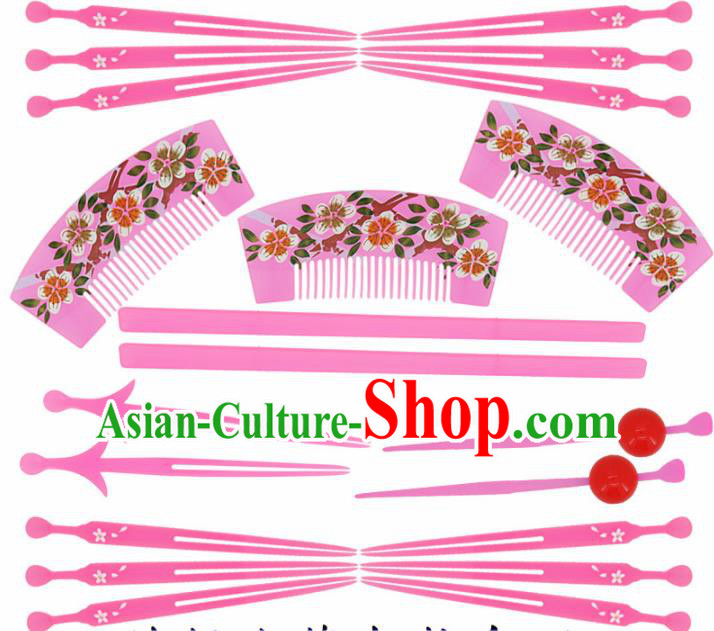 Japanese Traditional Kimono Pink Hairpins Hair Combs Ancient Geisha Hair Accessories Complete Set for Women