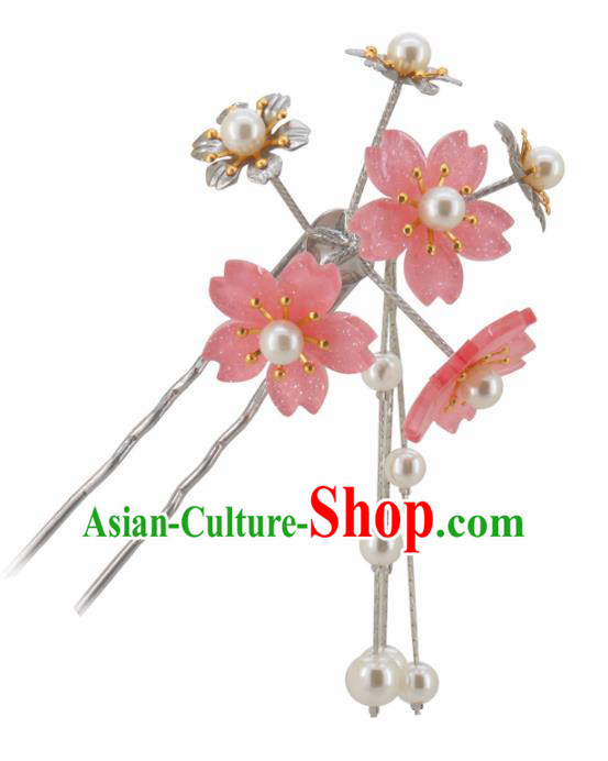 Japanese Traditional Kimono Hair Accessories Ancient Yukata Pink Cherry Blossom Tassel Hairpins for Women