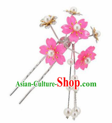 Japanese Traditional Kimono Hair Accessories Ancient Yukata Rosy Cherry Blossom Tassel Hairpins for Women
