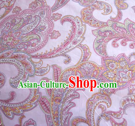 Asian Japanese Traditional Kimono Pink Fabric Material Classical Pattern Design Drapery