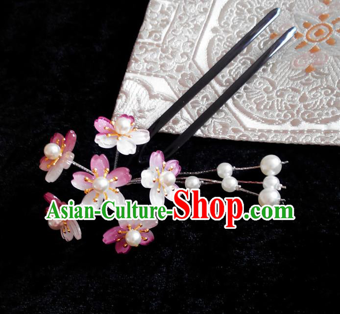 Japanese Traditional Courtesan Hair Accessories Purple Hair Clip Ancient Kimono Yukata Tassel Hairpins for Women