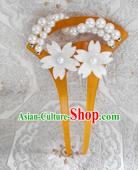Japanese Traditional Hair Accessories Ancient Courtesan Kimono Cherry Blossom Pearls Hairpins for Women