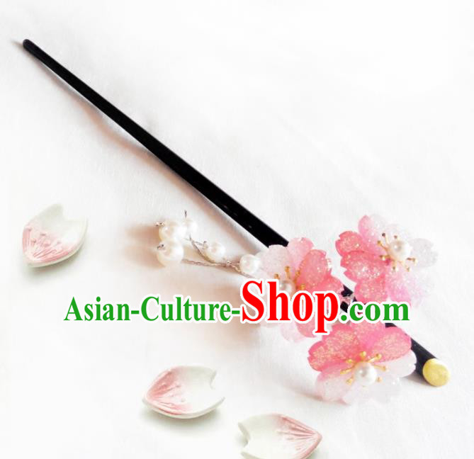 Japanese Traditional Hair Accessories Ancient Courtesan Kimono Pink Cherry Blossom Hairpins for Women