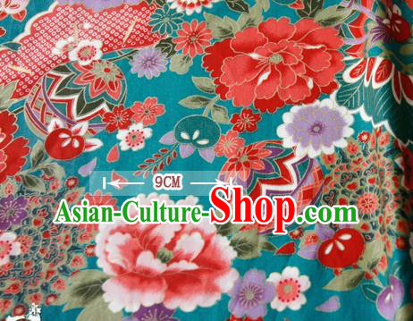 Asian Japanese Traditional Kimono Green Brocade Fabric Silk Material Classical Peony Pattern Design Drapery