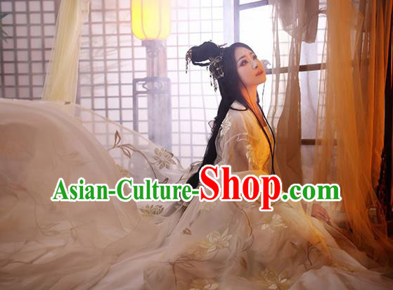 Chinese Traditional Embroidered Costumes Cosplay Ancient Imperial Consort Hanfu Dress for Women