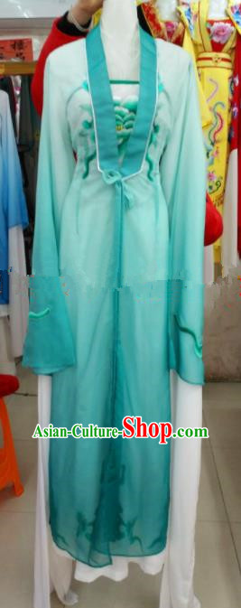 Chinese Traditional Beijing Opera Actress Green Dress Ancient Court Maid Embroidered Costumes for Women