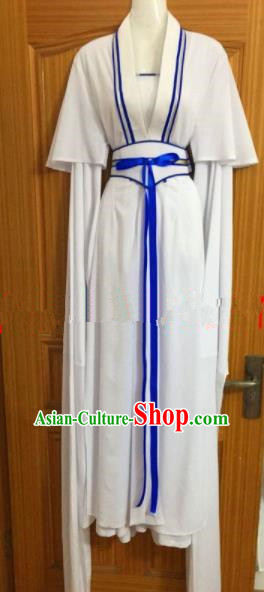 Chinese Traditional Beijing Opera Maidservants White Dress Ancient Mui Tsai Costumes for Poor