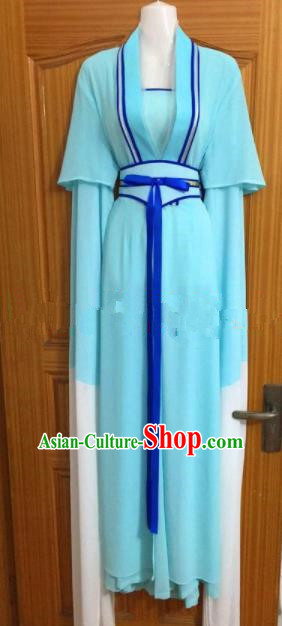 Chinese Traditional Beijing Opera Maidservants Blue Dress Ancient Mui Tsai Costumes for Poor