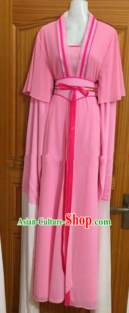 Chinese Traditional Beijing Opera Maidservants Pink Dress Ancient Mui Tsai Costumes for Poor