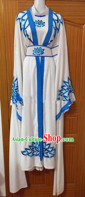 Chinese Traditional Beijing Opera Taoist Nun White Dress Ancient Peri Embroidered Costumes for Rich