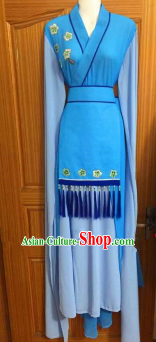 Chinese Traditional Peking Opera Peri Blue Dress Ancient Young Lady Embroidered Costumes for Poor
