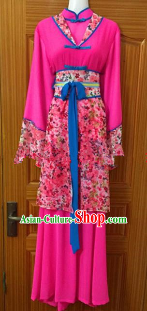 Chinese Traditional Beijing Opera Young Lady Rosy Dress Ancient Maidservants Embroidered Costumes for Poor