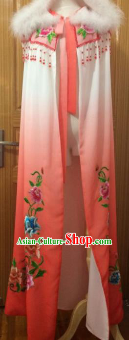 Chinese Traditional Peking Opera Embroidered Red Cloak Ancient Princess Cape Costumes for Women