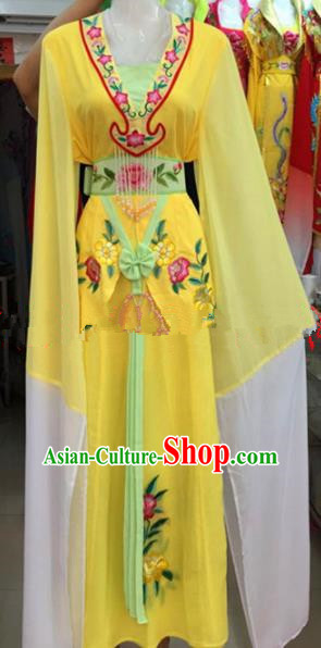 Chinese Traditional Beijing Opera Mui Tsai Yellow Dress Ancient Peri Embroidered Costumes for Rich