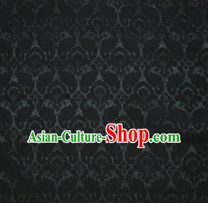 Chinese Royal Black Brocade Palace Pattern Satin Traditional Silk Fabric Chinese Fabric Asian Material