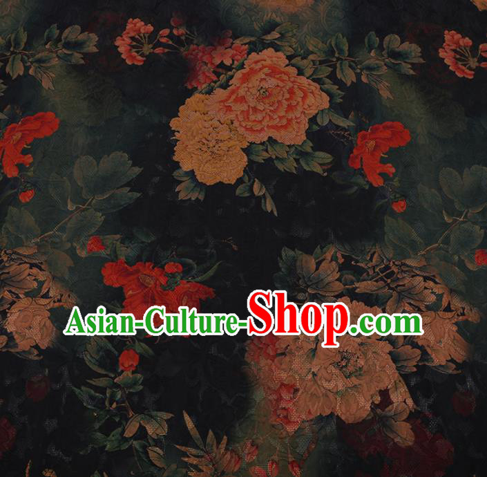 Chinese Traditional Cheongsam Black Crepe Satin Plain Palace Peony Pattern Silk Fabric Chinese Fabric Asian Material