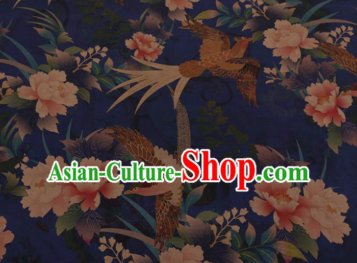 Chinese Traditional Cheongsam Silk Fabric Palace Phoenix Peony Pattern Blue Satin Plain Gambiered Guangdong Gauze