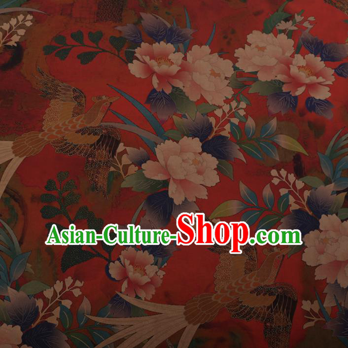 Chinese Traditional Cheongsam Silk Fabric Palace Phoenix Peony Pattern Red Satin Plain Gambiered Guangdong Gauze