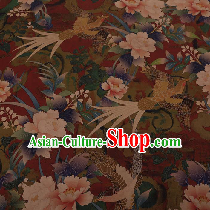 Chinese Traditional Cheongsam Silk Fabric Palace Phoenix Peony Pattern Dark Red Satin Plain Gambiered Guangdong Gauze