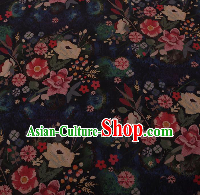 Chinese Traditional Cheongsam Silk Fabric Palace Flowers Pattern Black Satin Plain Gambiered Guangdong Gauze