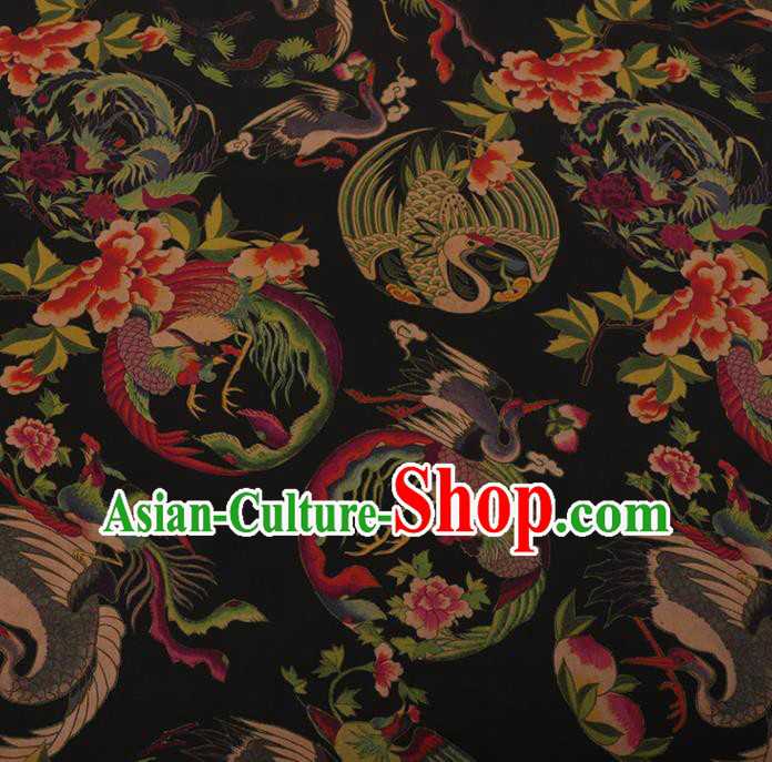 Chinese Traditional Cheongsam Silk Fabric Palace Phoenix Pattern Black Satin Plain Gambiered Guangdong Gauze