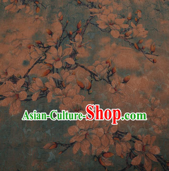 Chinese Traditional Cheongsam Green Crepe Satin Plain Palace Magnolia Pattern Silk Fabric Chinese Fabric Asian Material