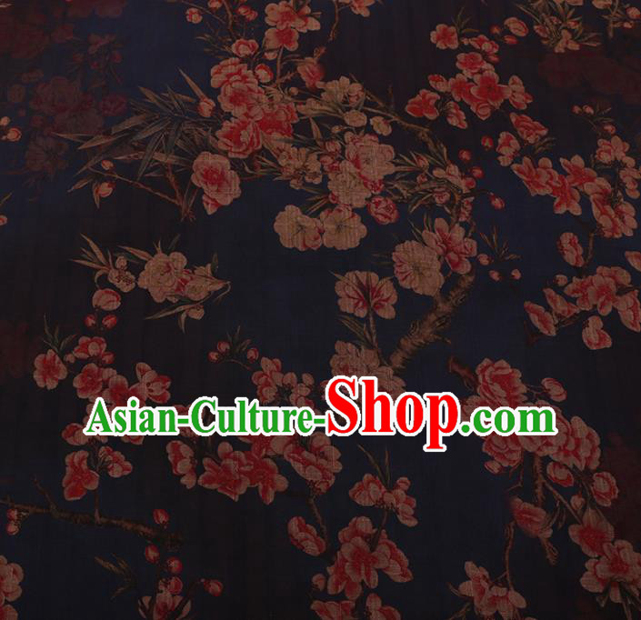 Chinese Traditional Cheongsam Silk Fabric Palace Plum Blossom Pattern Navy Satin Plain Gambiered Guangdong Gauze