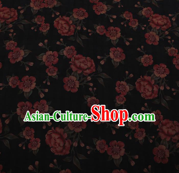 Chinese Traditional Cheongsam Silk Fabric Palace Red Flowers Pattern Satin Plain Gambiered Guangdong Gauze