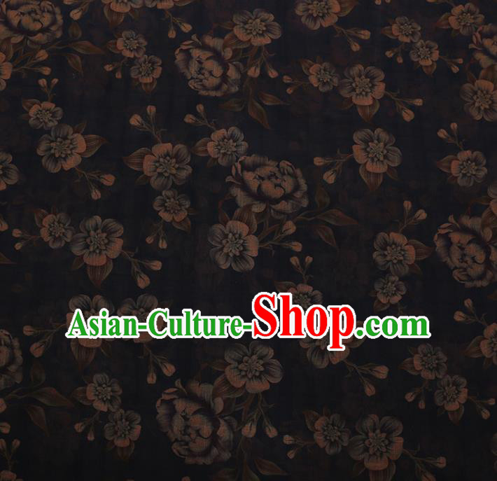 Chinese Traditional Cheongsam Silk Fabric Palace Blue Flowers Pattern Satin Plain Gambiered Guangdong Gauze
