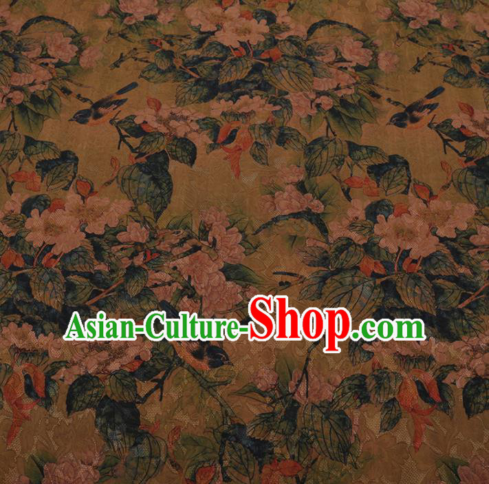Chinese Traditional Cheongsam Yellow Crepe Satin Plain Palace Pattern Gambiered Guangdong Gauze Silk Fabric