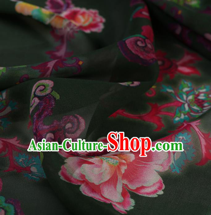 Chinese Traditional Cheongsam Olive Green Crepe Satin Plain Palace Peony Pattern Gambiered Guangdong Gauze Silk Fabric