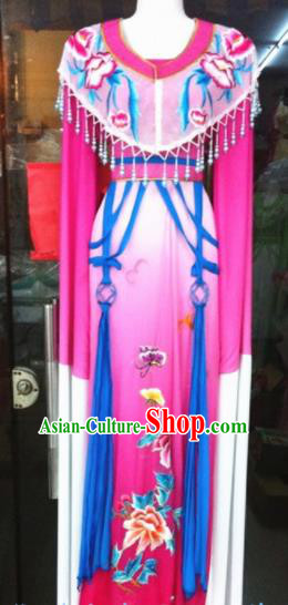 Chinese Traditional Peking Opera Princess Embroidered Rosy Dress Ancient Peri Silk Costumes for Women