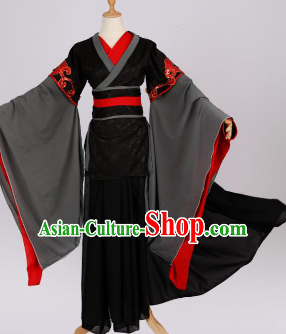 Traditional Chinese Cosplay Swordsman Black Hanfu Clothing Ancient Royal Highness Costume for Men