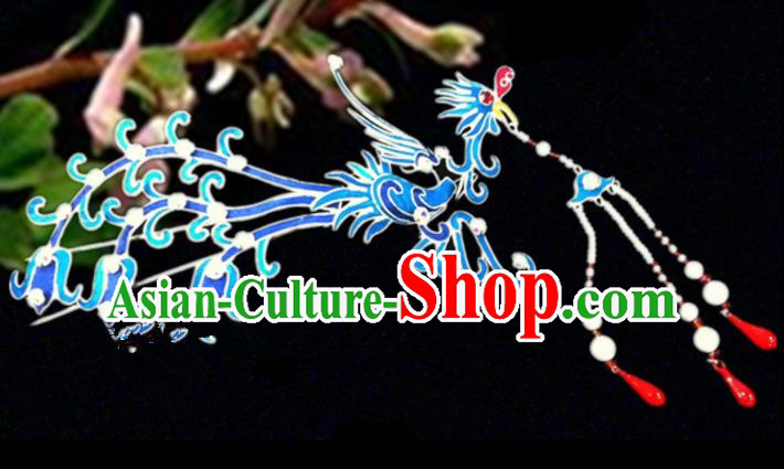 Chinese Traditional Ancient Tassel Phoenix Hairpins Beijing Opera Hair Accessories for Women