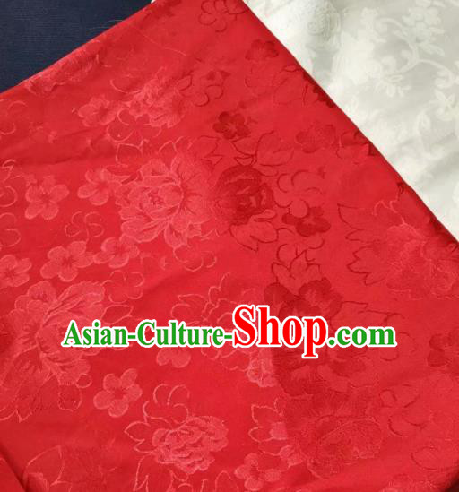 Chinese Royal Red Brocade Palace Traditional Peony Pattern Design Silk Fabric Chinese Fabric Asian Material