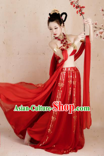 Traditional Chinese Cosplay Fairy Red Hanfu Dress Ancient Peri Princess Costume for Women