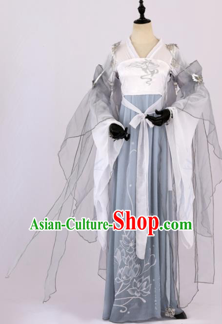 Traditional Chinese Cosplay Princess Grey Hanfu Dress Ancient Peri Costume for Women