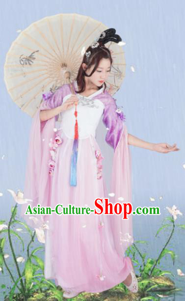 Traditional Chinese Cosplay Princess Lilac Hanfu Dress Ancient Peri Costume for Women