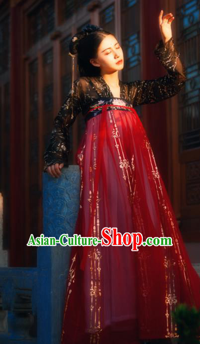 Chinese Ancient Tang Dynasty Royal Princess Embroidered Costumes Red Hanfu Dress for Women