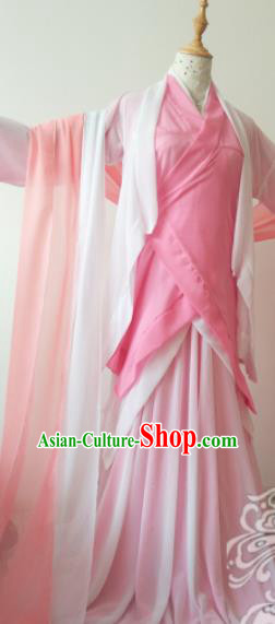 Traditional Chinese Cosplay Madam White Snake Swordswoman Pink Hanfu Dress Ancient Heroine Costume for Women