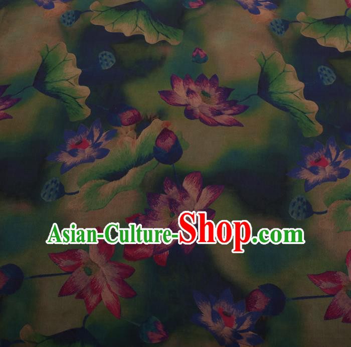 Chinese Traditional Cheongsam Green Silk Fabric Palace Lotus Pattern Satin Plain Gambiered Guangdong Gauze