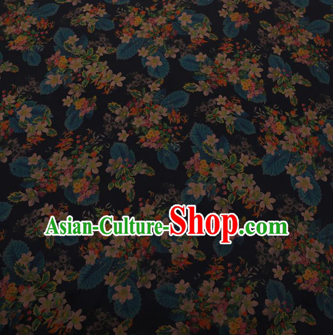 Chinese Traditional Cheongsam Black Silk Fabric Palace Flowers Pattern Satin Plain Gambiered Guangdong Gauze