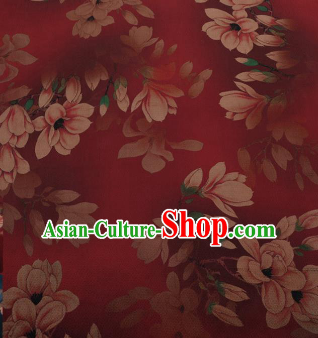 Chinese Traditional Cheongsam Red Silk Fabric Palace Magnolia Pattern Jacquard Satin Plain Gambiered Guangdong Gauze