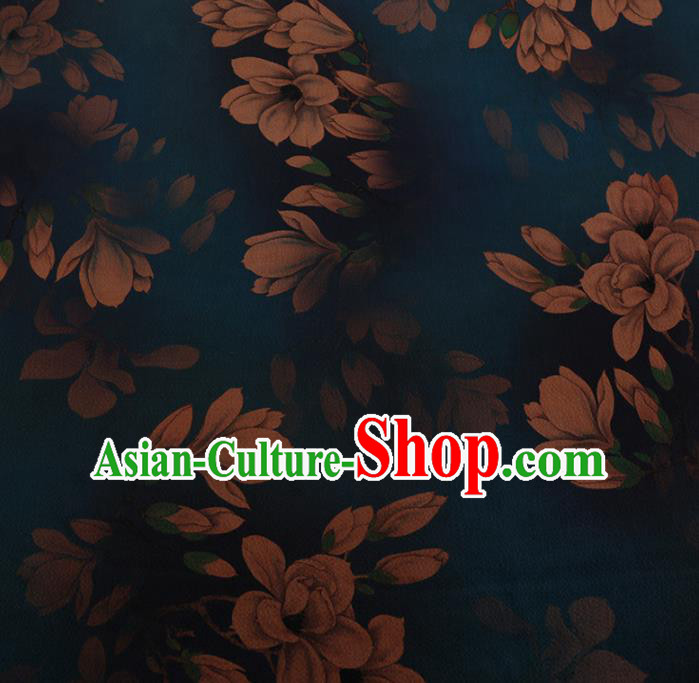 Chinese Traditional Cheongsam Blue Silk Fabric Palace Magnolia Pattern Jacquard Satin Plain Gambiered Guangdong Gauze