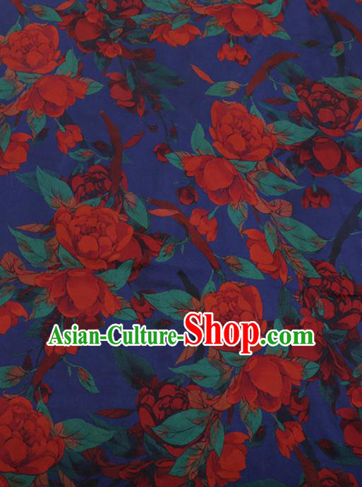 Chinese Traditional Cheongsam Blue Silk Fabric Palace Peony Pattern Jacquard Satin Plain Gambiered Guangdong Gauze