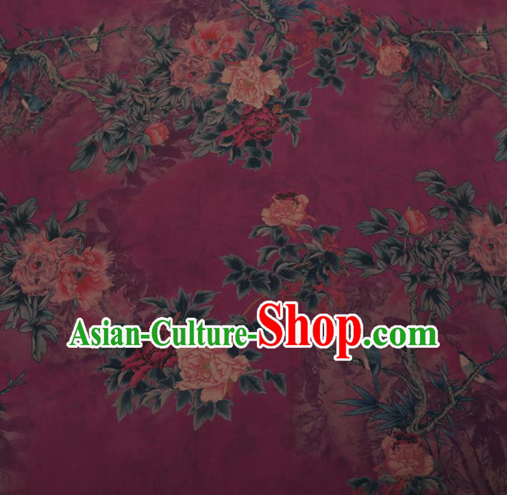 Chinese Traditional Purple Silk Fabric Palace Peony Pattern Cheongsam Jacquard Satin Plain Gambiered Guangdong Gauze